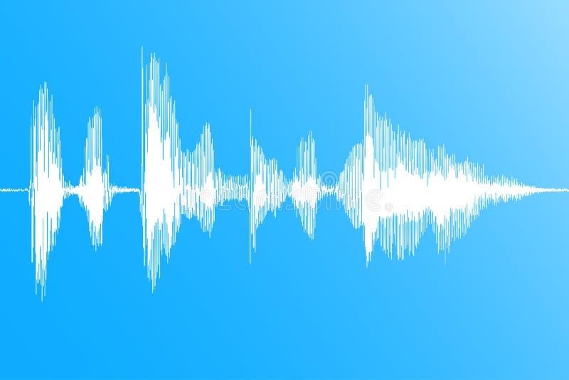 Onda acústica Soundwave dinámico realista, flujo digital de la música en fondo azul Vector ilustración del vector