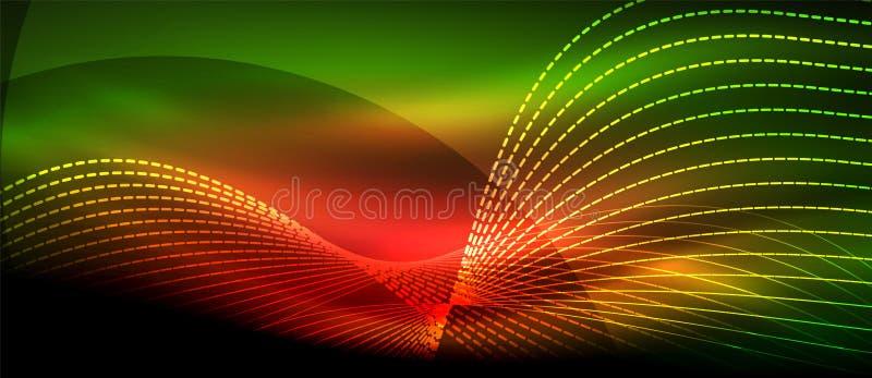 Onda astratta d'ardore su moto scuro e brillante, luce magica dello spazio Fondo astratto techno illustrazione di stock