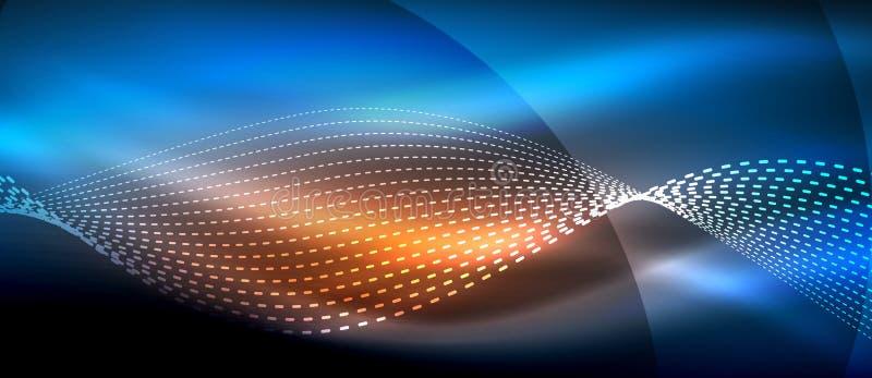 Onda astratta d'ardore su moto scuro e brillante, luce magica dello spazio Fondo astratto techno illustrazione vettoriale