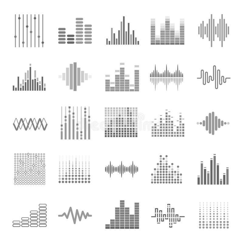 A onda audio gráfica do equalizador escala os ícones do vetor do tema ajustados ilustração royalty free