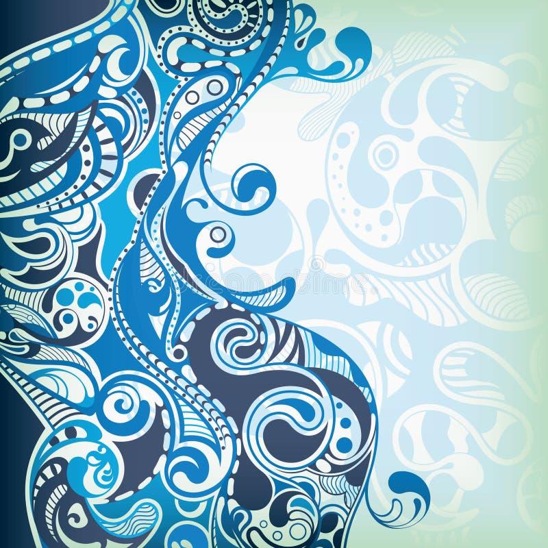 Onda azul abstracta ilustración del vector