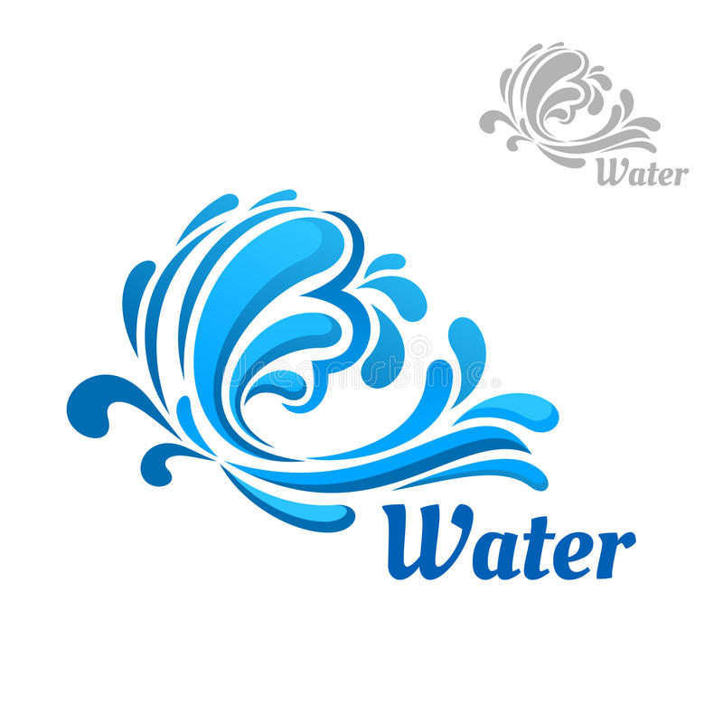 A onda azul com água espirra e deixa cair ilustração do vetor