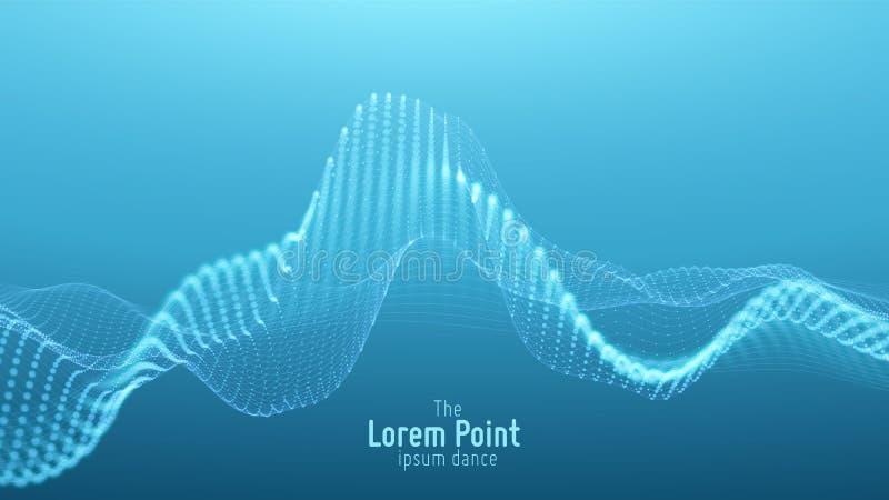 Onda blu astratta della particella di vettore, matrice dei punti, profondità di campo bassa Illustrazione futuristica Tecnologia  illustrazione di stock