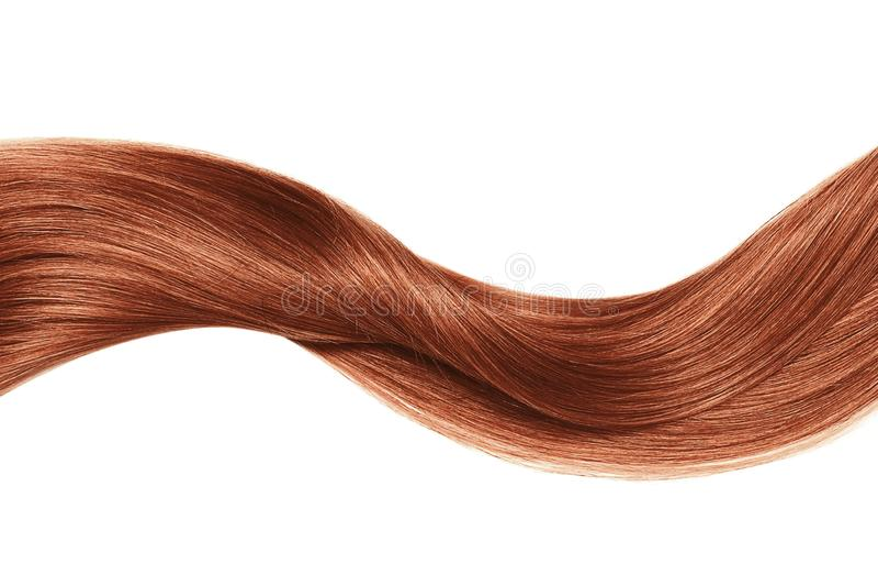 Onda brilhante do cabelo da hena, isolada sobre o branco fotos de stock