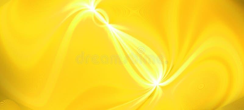 Onda brilhante do efeito do fluxo do fulgor do ouro Energia dinâmica do movimento Ilustração do molde do projeto Imagem panorâmic foto de stock