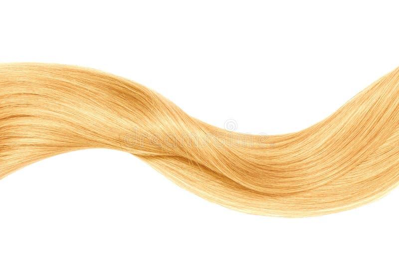 Onda brilhante loura do cabelo, isolada sobre o branco fotos de stock