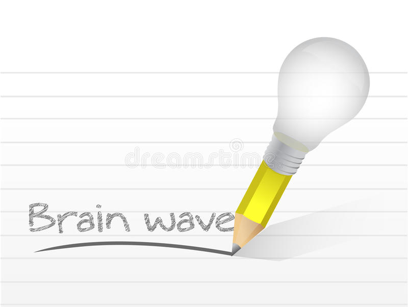Onda cerebral escrita con un lápiz de la idea de la bombilla stock de ilustración