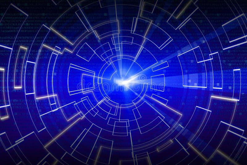 Onda circular azul del resplandor fondo del scifi o del juego stock de ilustración