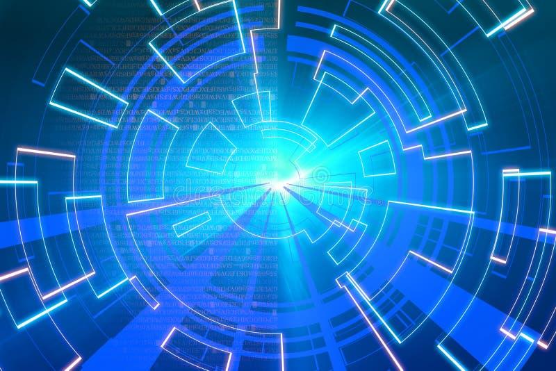 Onda circular azul do fulgor fundo do scifi ou do jogo ilustração do vetor