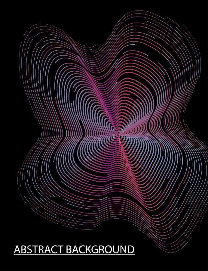 Onda colorida da mistura 3D no fundo escuro ilustração stock