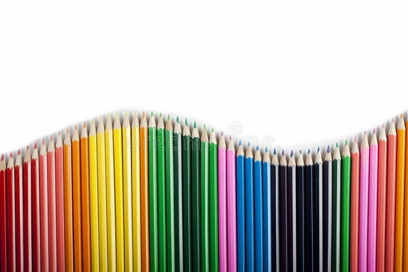 Onda colorida do sumário dos lápis fotografia de stock