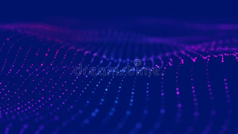 Onda 3d Onda de part?culas Fondo geom?trico azul abstracto Visualizaci?n grande de los datos Extracto de la tecnolog?a de los dat libre illustration