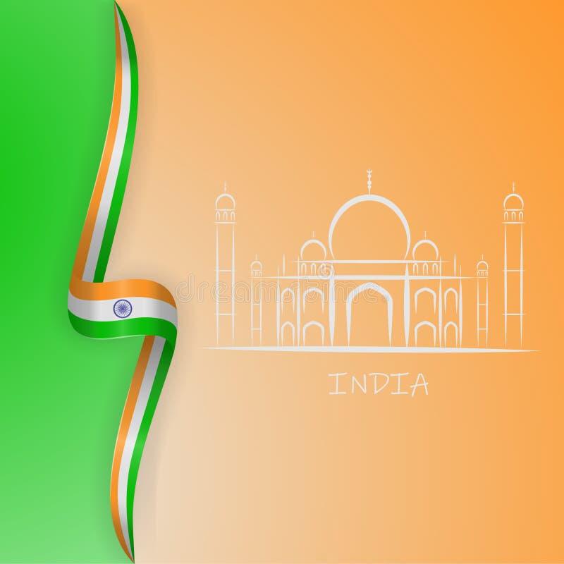 Onda da bandeira da Índia e símbolos de Taj Mahal Ilustração do vetor ilustração do vetor