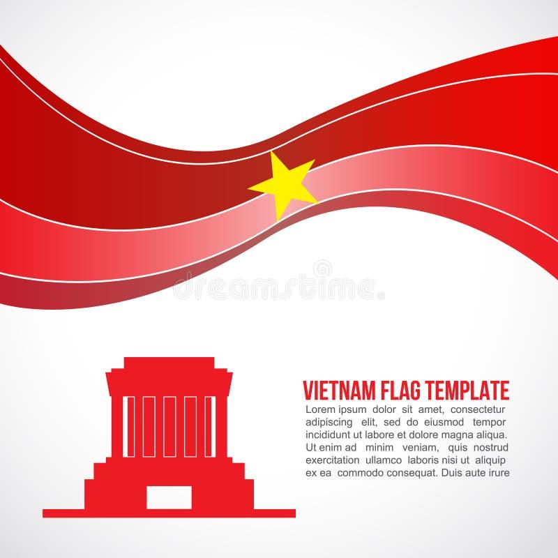 Onda da bandeira de Vietname e Ho Chi Minh abstratos - mausoléu Hanoi ilustração royalty free