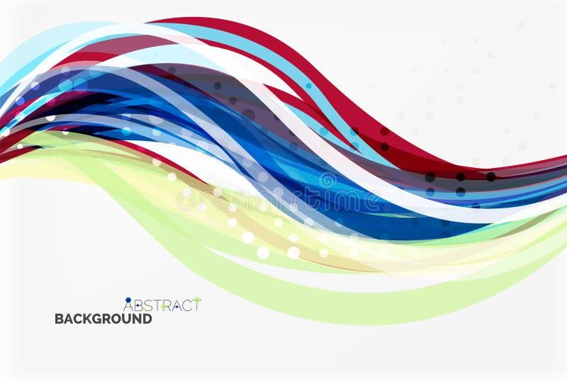 A onda da cor do vetor alinha com efeito pontilhado no fundo claro ilustração royalty free