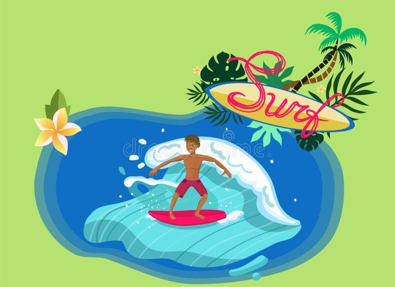 Onda da equitação do surfista com imagem vermelha do vetor da placa ilustração royalty free