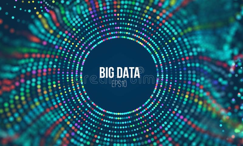 Onda da grade do círculo Fundo abstrato da ciência do bigdata Tecnologia grande da inovação dos dados ilustração stock