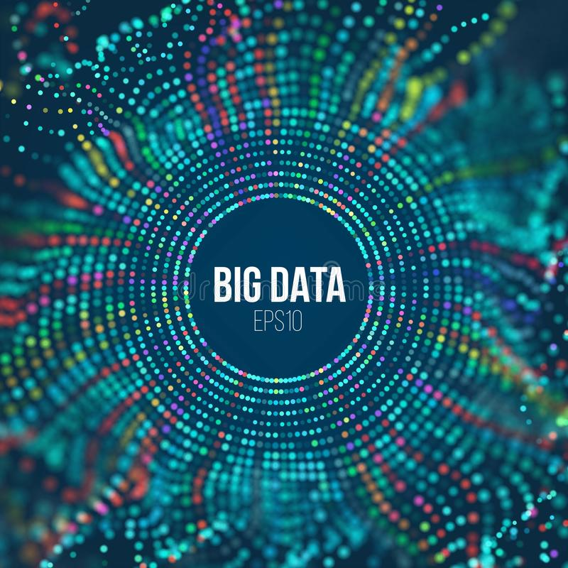 Onda da grade do círculo Fundo abstrato da ciência do bigdata Tecnologia grande da inovação dos dados ilustração do vetor