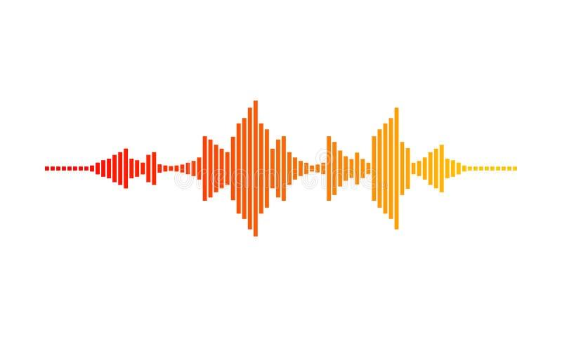 ONDA da música Forma de onda de Digitas Frequências sadias Inclinação com cores vermelhas, alaranjadas e amarelas Projeto do veto ilustração do vetor