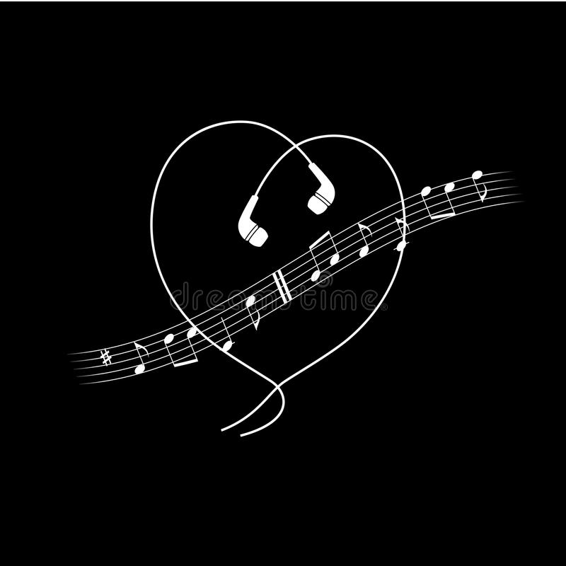 Onda da nota da música com os fones de ouvido na forma do coração Branco do vetor no projeto preto do t-shirt ou do cartaz ilustração stock