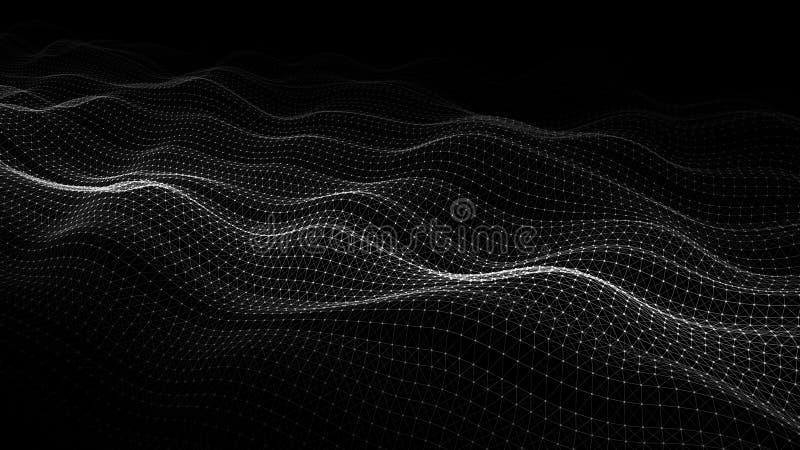 Onda das part?culas Fundo abstrato com uma onda din?mica Visualiza??o grande dos dados rendi??o 3d ilustração do vetor