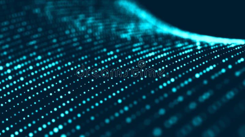 Onda das part?culas Fundo azul futurista dos pontos com uma onda din?mica Dados grandes rendi??o 3d ilustração do vetor