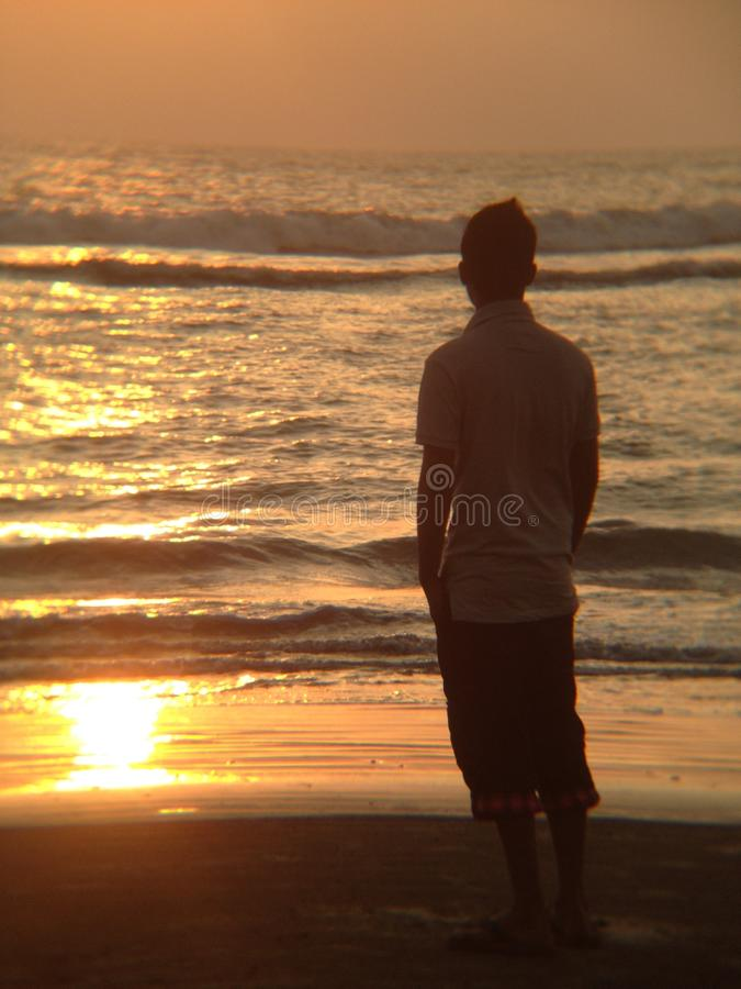 Onda de água do por do sol de Oceane fotos de stock royalty free