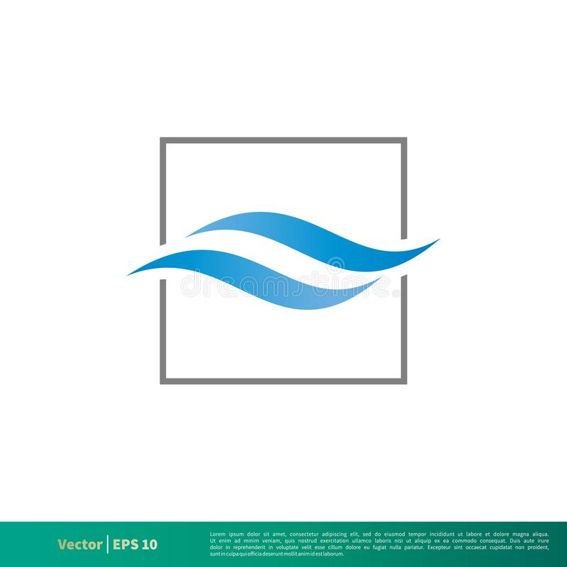 Onda de água e linha quadrada vetor Logo Template Illustration Design do ícone Vetor EPS 10 ilustração do vetor