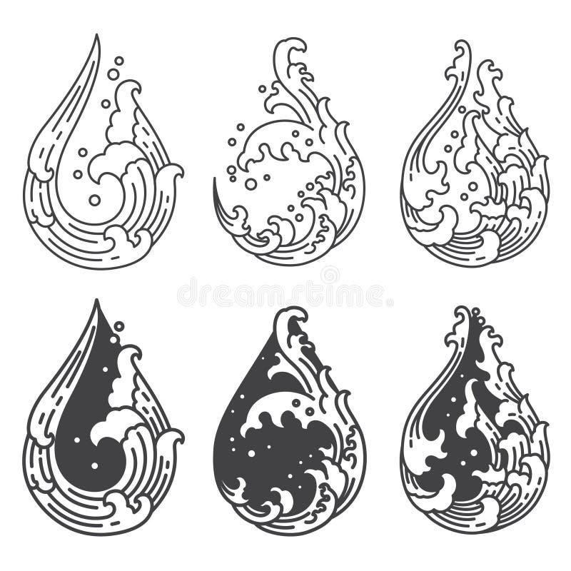 Onda de ?gua oriental no ?cone da forma da gota japon?s thai ilustração do vetor