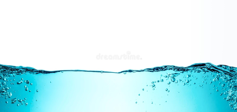Onda de agua azul con textura del fondo del primer de las burbujas aislada en el top Foto grande del tamaño imagen de archivo libre de regalías