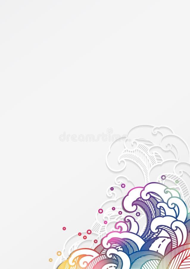 Onda de agua oriental colorida en el estilo cortado de papel ilustración del vector