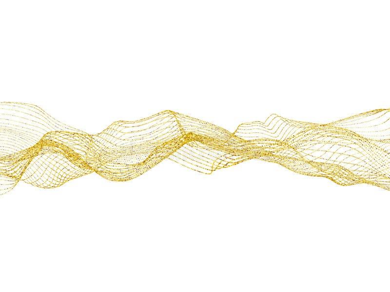 Onda de areia dourada do brilho com as faíscas na ilustração branca do vetor do fundo ilustração royalty free