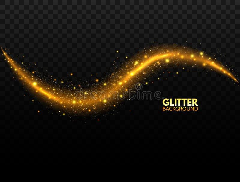 Onda de brilho do ouro Cauda efervescente do cometa no fundo transparente Onda mágica do brilho com partículas douradas Estrela ilustração do vetor