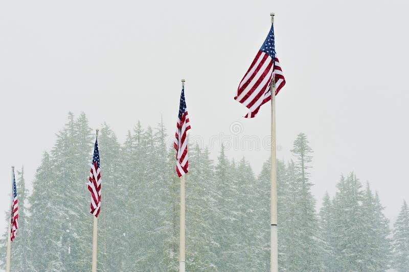 Onda de cuatro banderas de los E.E.U.U. en nieve que cae foto de archivo