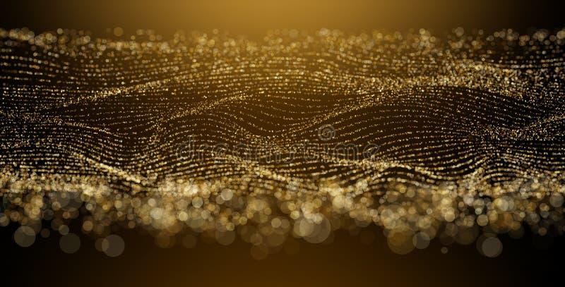 Onda de Digitaces - bokeh de oro de la partícula con la luz caliente EPS 10 stock de ilustración