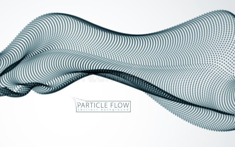 Onda de Digitaces de part?culas que fluyen en el movimiento Fondo gris abstracto Malla de puntos borrosos, ejemplo hermoso stock de ilustración
