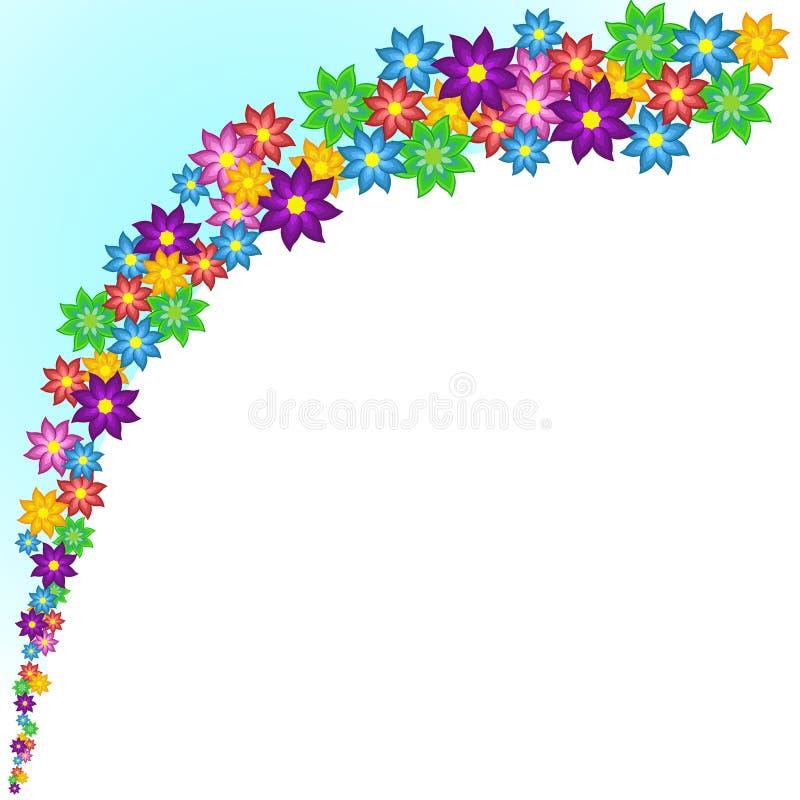 Onda de flores estilizados coloridas brilhantes ilustração stock