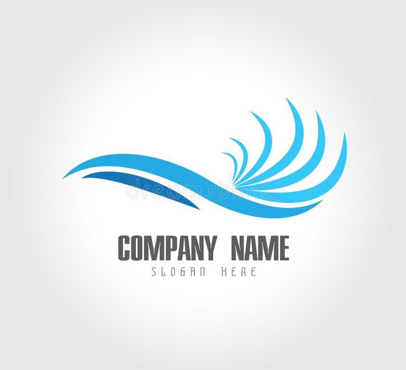 Onda de ?gua Logo Template Luxuoso, relaxe o vetor ilustração stock
