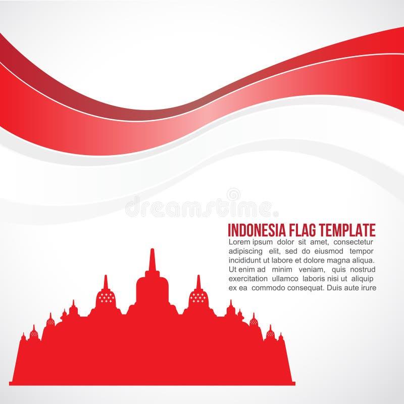 Onda de la bandera de Indonesia y templo abstractos de Borobudur ilustración del vector