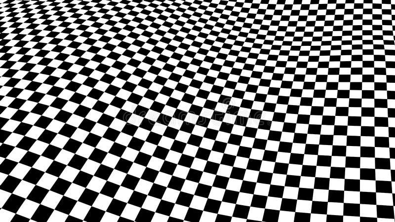 Onda de la ilusión óptica Las ondas del ajedrez suben Ilusiones blancos y negros abstractas 3d Lineas horizontales rayas modelo o libre illustration