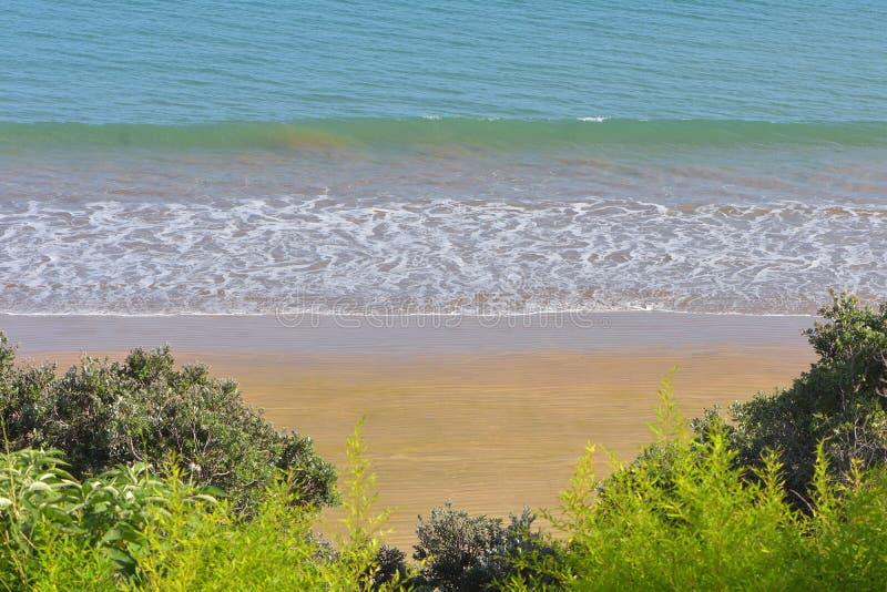 Onda de la resaca que viene a la playa arenosa foto de archivo