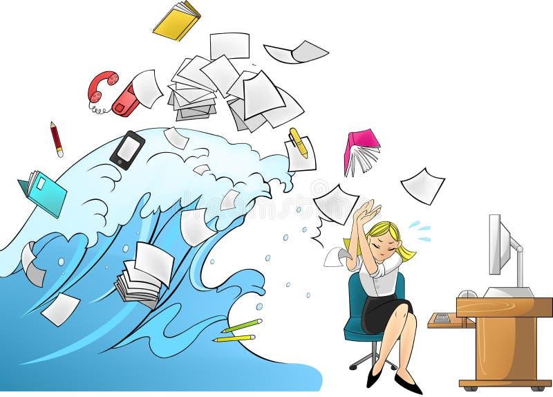 Onda de marea del trabajo - versión de la mujer ilustración del vector