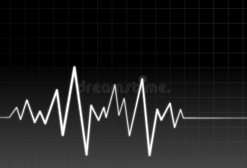Onda de neón del audio o del pulso stock de ilustración