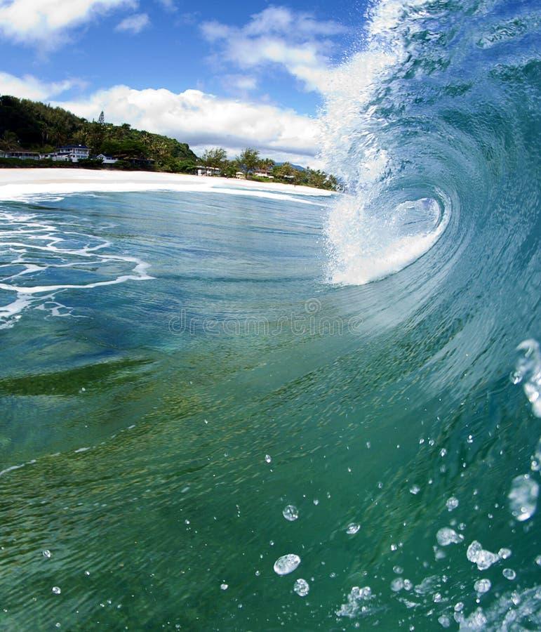 Onda de océano azul en la orilla del norte de Hawaii imagen de archivo