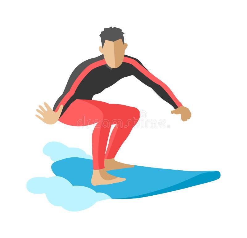 Onda de oceano azul do surfista que obtém a água surfando barreled o vetor extremo do caráter do esporte ilustração do vetor