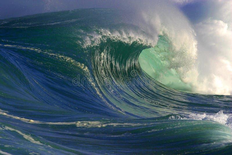 Onda de oceano grande em Havaí imagens de stock