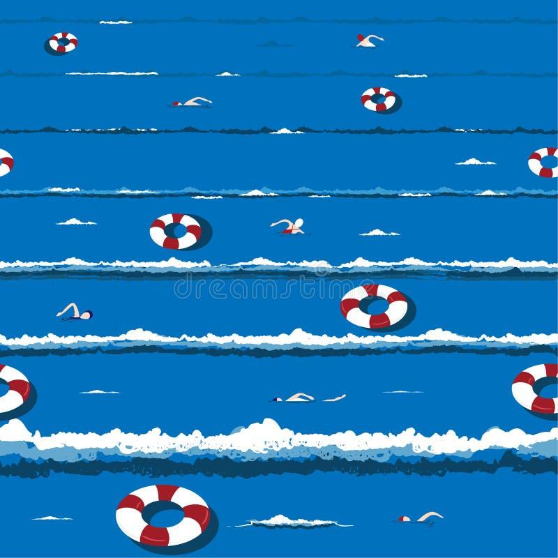 Onda de oceano na moda e fresca do verão com para relaxar à disposição a natação, projeto sem emenda tirado do teste padrão do ve ilustração stock