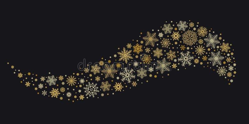 Onda de oro del copo de nieve Los copos de nieve del oro fluyen, fondo aislado carte cadeaux del vector de la nieve del invierno ilustración del vector