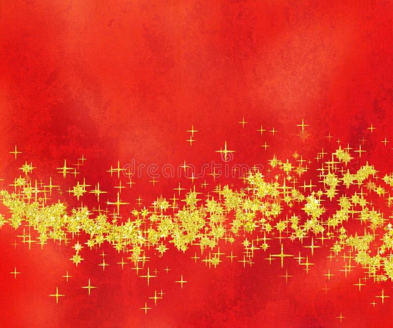Onda de oro Glittery de la estrella en fondo rojo fotografía de archivo libre de regalías