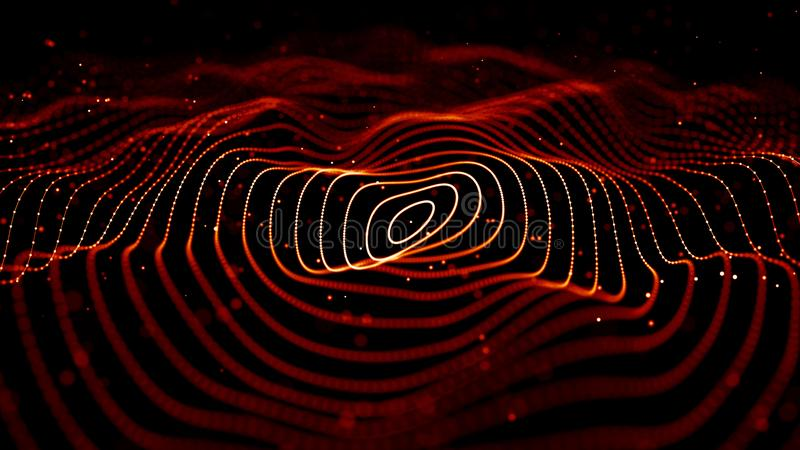 Onda de part?culas vermelhas Fundo abstrato do fogo com uma onda din?mica rendi??o 3d ilustração do vetor